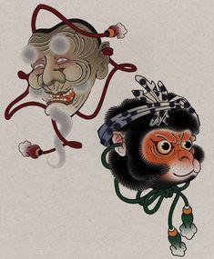Traditional Japanese Tattoo Flash, Traditional Tattoo Art, Japanese Mask Tattoo, Japanese Tattoo Designs, Japanese Drawings, Japanese Prints, Japanese Mythical Creatures, Hannya Tattoo, Yakuza Tattoo