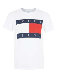 Tommy Jeans White Logo T-shirt - Branded T-shirts and Vests - Brands - TOPMAN