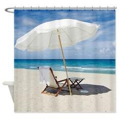 Beach Umbrella And Chairs Shower Curtain For