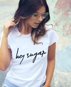 Swans Style is the top online fashion store for women. Shirt Refashion, T Shirt Diy, Slogan Tshirt, Denim Outfit, Shirt Outfit, Buy T Shirts Online, Winter T Shirts, Types Of Jeans, Cool Tee Shirts