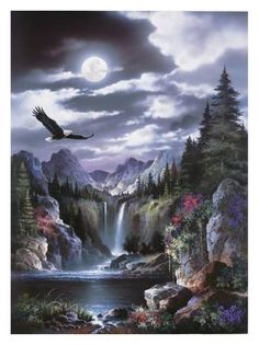 EagleBy Alma Lee Art Print: Moonlit Eagle Art Print by Alma Lee by Alma Lee : Print: Moonlit Eagle Art Print by Alma Lee by Alma Lee : Fantasy Landscape, Landscape Art, Landscape Paintings, Eagle Pictures, Nature Pictures, Native Art, Native American Art, American Indians, Pictures To Paint