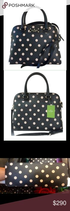 NWT Kate Spade Black Polka Dot Purse Brand New With tags.  Black and cream polka dots. Gold toned hardware Top zip closure; top handles with a drop of approx. 4.5 inches Adjustable, detachable strap crossbody or shoulder strap with a maximum drop of approx. 20 inches Interior features 1 zip pocket and 2 slip pockets Approx. dimensions: 12.5 in L x 9.5 in H x 5 in W.  from a non smoking home. kate spade Bags Satchels