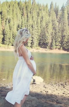 beautiful white maternity dress!