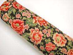 Robert Kaufman Floral Fabric Metalic Floral on Black by StitchKnit, $8.00 for 1 1/4 yard