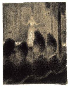 """""""Al Concért Café"""",Georges Seurat ,1886–88. Questo disegno mostra l'abilità del pittore nello strutturare le figure,e comporre una scena in perfetta prospettiva. Il puntinismo è volutamente sfumato per evocare l'ombra della sala in contrasto con la luce emanata dal palco e dalla donna,investita di luce che emana attorno. I minuziosi puntini si dissolvono rendendo la visione realistica,una testimonianza della mondanità parigina."""