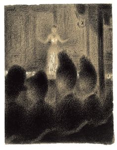 "Above: Georges Seurat. At the Concert Europeen (detail). c. 1886–88. Conte crayon and gouache on paper, 12 3/4 x 9 3/8"" (31.1 x 23.8 cm). The Museum of Modern Art, New York. Lillie P. Bliss Collection, 1934"