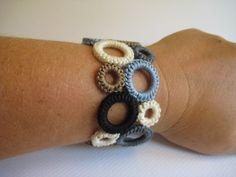 Crocheted circle bracelet.