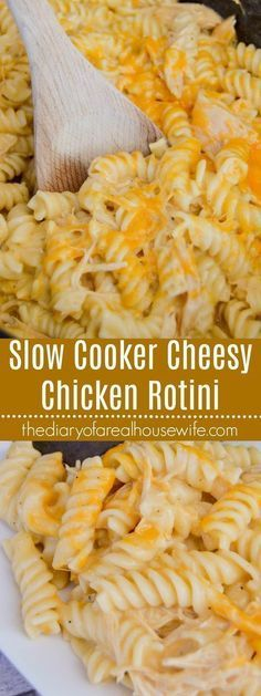Slow Cooker Cheesy Chicken Rotini. Such a simple dinner recipe you have to try it out.