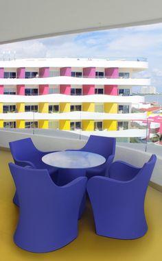 #TEMPTATION #RESORT #CANCUN #MEXICO is decorated with #WOOPY  small #armchair #design by Karim Rashid, and ADAM #table design by BUSETTI, GARUTI, REDAELLI  #interiordesign #interiors #decor #contract #hotelfurniture #karimrashid