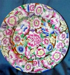 """Chinese Hand Painted Porcelain Plate CPC Macau 10.5"""" X 1"""" Pink Blue Gold Flowers"""