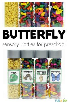 What gorgeous butterfly sensory bottles for preschool and kindergarten kids! I think these butterfly life cycle sensory jars would be great for a preschool butterfly theme or an insect theme. Save the materials to reuse them again and again. Lesson Plans For Toddlers, Preschool Lesson Plans, Preschool Themes, Preschool Crafts, Crafts For Kids, Spring Preschool Theme, Preschool Centers, Preschool Printables, Fun Crafts