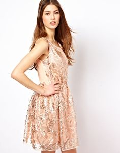 Pearl Sequin Skater Dress used for the metallic trend