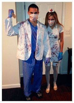 and Zombie Nurse costumes for Halloween Halloween Zombie, Zombie Nurse Costume, Doctor Halloween Costume, Halloween Party Kostüm, Scary Couples Halloween Costumes, Diy Couples Costumes, Doctor Costume, Halloween Party Costumes, Zombie Couple Costume