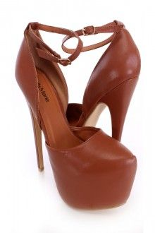 Chestnut Semi Pointed Toe Platform Heels Faux Leather