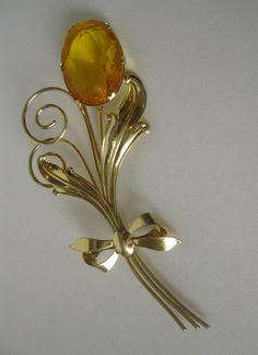 Vintage Sterling Amber Stemmed Flower Brooch Huge Signed. $42.00, via Etsy.
