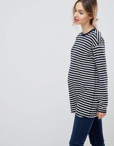 1f59ab482c21c ASOS Maternity | ASOS DESIGN Maternity Long Sleeve Oversized T-Shirt In  Stripe Asos Maternity