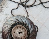Victorian style vintage mother of pearl and steel cut button pendant handcrafted artisan jewelry