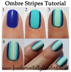 Blue Ombre Stripes Nail Art Tutorial