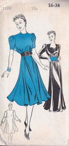 1930s Misses Evening Gown Ball Gown Dress