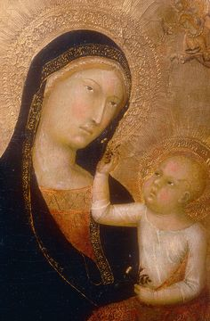 Lippo Memmi, Detail, Madonna and Child with Saints and Angels, c. 1350