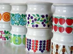 """Pomona"", ARABIA preserve jars designed by Raija Uosikkinen Vintage Dishware, Vintage Dishes, Vintage China, Vintage Ceramic, Vintage Kitchen, Jar Design, Nordic Interior, Glass Ceramic, Mid Century Design"