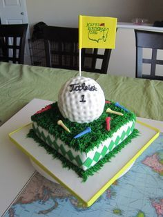 Golf Ball & Augusta Pin Flag Cake with Golf Tees Golf Themed Cakes, Golf Birthday Cakes, Golf Grooms Cake, Groom Cake, Golf Cake Toppers, Golf Ball Cake, Golf Cookies, Golfball, Dad Cake