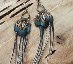 Triple Drop Brass Black & Tan Feather Earrings--Green, Gold, Brass, Pheasant, custom by RuthRhiannonDesigns on Etsy