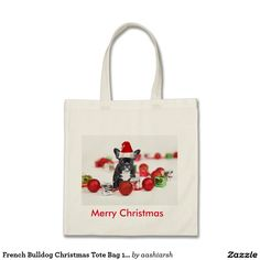 #French #Bulldog #Christmas #Tote #Bag 100% #Cotton get it or forget it!