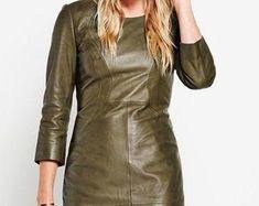 Etsy :: Jouw platform voor het kopen en verkopen van handgemaakte items Leather Jacket Dress, Dresses With Sleeves, Trending Outfits, Long Sleeve, Unique, Jackets, Clothes, Vintage, Etsy