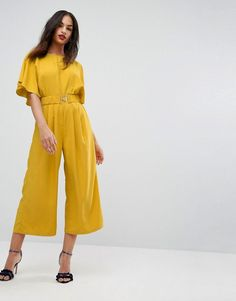 26bb275aa4f ASOS Tea Jumpsuit with Elasticated Belt - Yellow Prom Jumpsuit