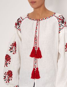 Ivory Linen Floral Embroidered Blouse