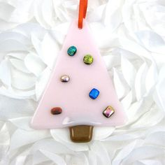 Pink Fused Glass Christmas Tree with Dichroic Balls on Etsy, £7.69