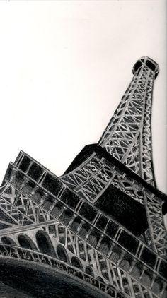 Eiffel Tower Detail by BecChinArt