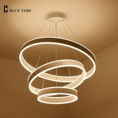 80 60 40CM Modern Led Hanging Chandeliers For Living Dining Room Kitchen  Light Led Pendant Chandelier