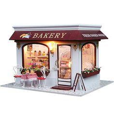 Kit Wooden Dollhouse Miniature DIY House Provence Cake Shop Gift