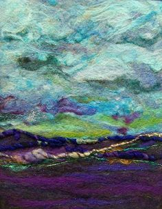 """""""Blue Sky"""" - Lovely needle-felted piece (Deebs Fiber Art on Etsy Looks like a watercolor painting in felt! Nuno Felting, Needle Felting, Felt Pictures, Landscape Quilts, Abstract Landscape, Textiles, Wool Art, Art Textile, Felt Art"""