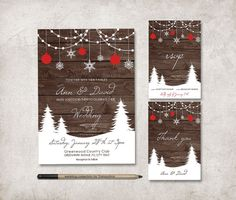 Winter Wedding Invitation Suite Includes Rsvp And Thank You Card, Sold  Separately Or As A