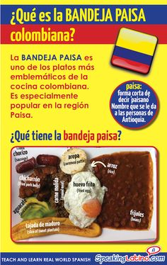 A booklet with cultural Spanish activities around La Bandeja Paisa. Spanish teachers can present the Colombian Bandeja Paisa and food vocabulary. Colombian Spanish, Colombian Cuisine, Colombian Culture, Spanish Activities, Learning Spanish, Food Vocabulary, Spanish Vocabulary, Spanish Speaking Countries, Spanish Food