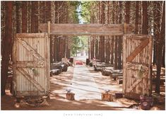 Lovely, rustic outdoor wedding aisle design nestled in a forest of tall trees. Wedding Aisle Outdoor, Wedding Ceremony, Wedding Venues, Wedding Ideas, Wedding Car, Farm Wedding, Snow Pictures, Forest Wedding, Big Day