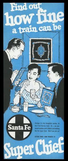 ATSF Railway - Santa Fe Super Chief Turquoise Room Dining Service - Vintage Rail Poster - 1956