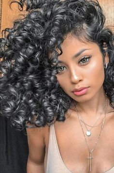 Medium Black silver hair with perm style Medium Hair Styles, Curly Hair Styles, Natural Hair Styles, Hair Medium, Long Curly Hair, Big Hair, Curly Silver Hair, Curly Afro, Wavy Hair