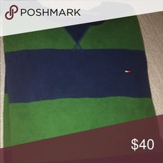 Tommy H. Long sleeves shirt Men's. Size large. Thick as a sweatshirt, extremely soft abs warm. Tommy Hilfiger long sleeves warm classy shirt. Navy blue and green. Size large. Original price 80$, Like new. Asking 40$. The second one listed separately in yellow and navy blue can be bundled if you ask to create a listening for both. Purchase both and pay 70$ for both, the selling asking price of each is 40$. That's 10$ savings if you bundle both. Tommy Hilfiger Shirts Tees - Long Sleeve