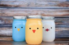 Chick, Bunny & Bird Jars - Easter Craft Ideas with Mason Jars