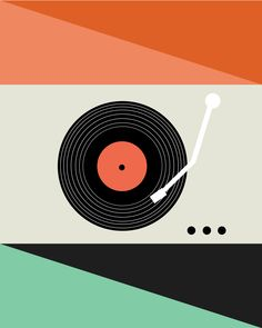 retro record player illustration art print modern by LeydaDesignCo Graphic Design Illustration, Digital Illustration, Retro Record Player, Retro Background, Music Artwork, Music Images, Hippie Art, Posca, Vinyl Art