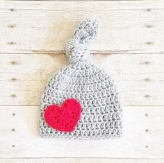 Crochet Valentine's Day Knot Top Heart Beanie Hat Infant Newborn Baby Toddler Child Adult Handmade Photography Photo Prop Baby Shower Gift Present