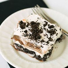 No-Bake Oreo Layer Dessert | Brown Eyed Baker 2 smaller boxes Chocolate Fudge pudding with 3-1/4 cups milk