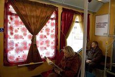 Cozy drapes in the train