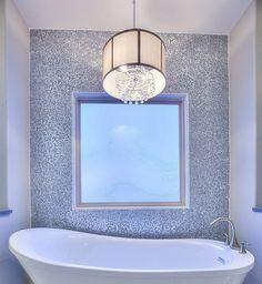 "Emser tile ""Charm"" on back wall surrounding window Kitchen And Bath, Wall Tiles, Charmed, Windows, Room Tiles, Ramen, Subway Tiles, Window"