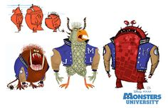 Monstres Academy - The Art of Disney Character Development, Character Design References, Character Art, Art Disney, Disney Kunst, Disney Pixar, Monster University, Animation Disney, Film D'animation