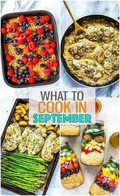 It's September, which means fall is almost here! Enjoy this busy back-to-school month to the fullest with some of the best meals for breakfast, lunch and dinner! Lunch Recipes, Fall Recipes, Breakfast Recipes, Dinner Recipes, Cooking Recipes, Best Meal Prep, Meal Prep For The Week, Mason Jar Lunch, Meal Prep Containers